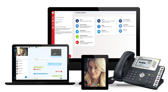 A mockup picture containing screenshots of the Virtual landlines VUC platform settings as well as a Yealink VoIP handset that is included in the VoIP reseller programme.