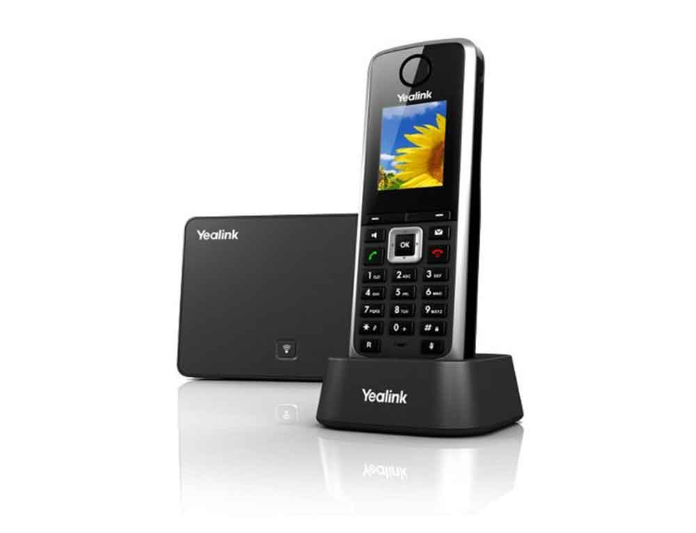 A picture of a Yealink W52H Cordless IP Handset with Yealink Base Station