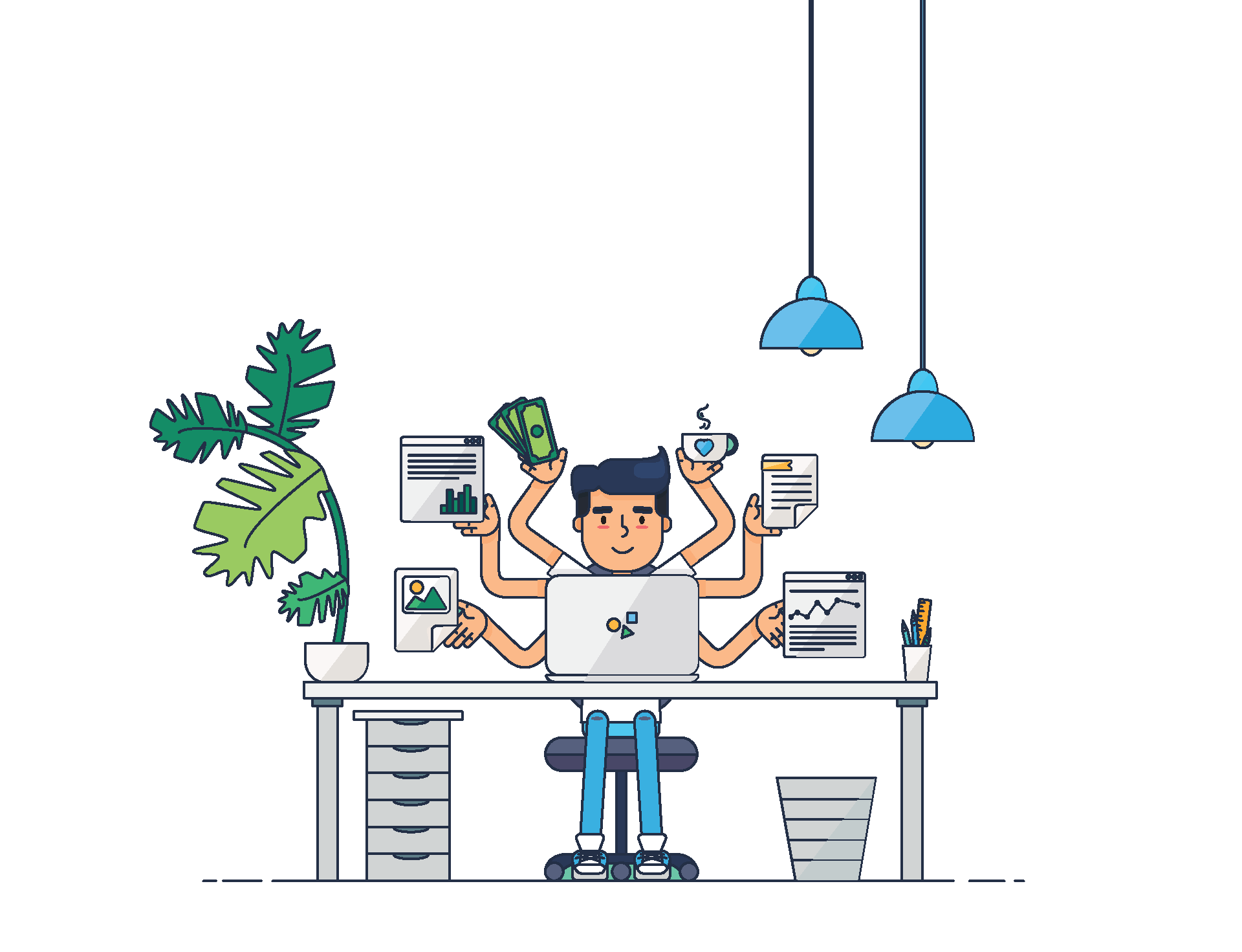 An illustration image that shows a user at his desk making use of the Virtual landlines platform to collaborate with his coworkers and clients.