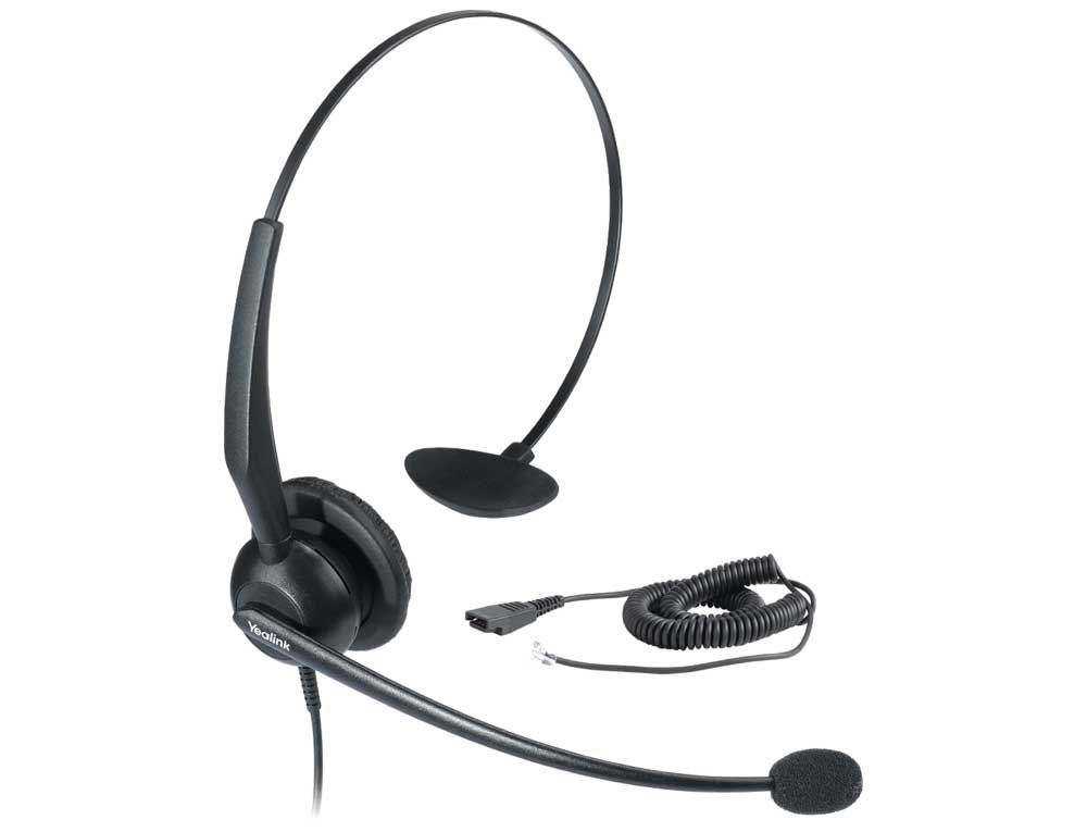 A picture of a Yealink YHS33 Headset device that can be used with compatible Yealink VoIP handsets