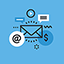 A blue circular icon reflecting website hosting and email solutions provided by Virtual Landlines
