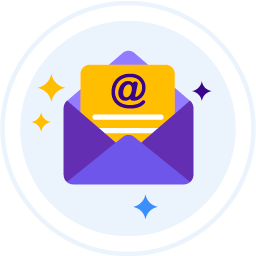 Contact Virtual Landlines by email represented by a flat illustration image of an email icon.