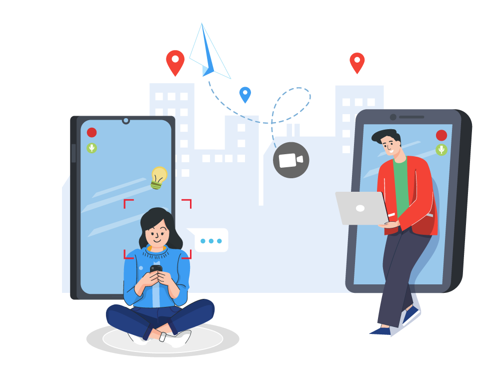 An illustration that shows two office workers taking landline calls using their mobile devices